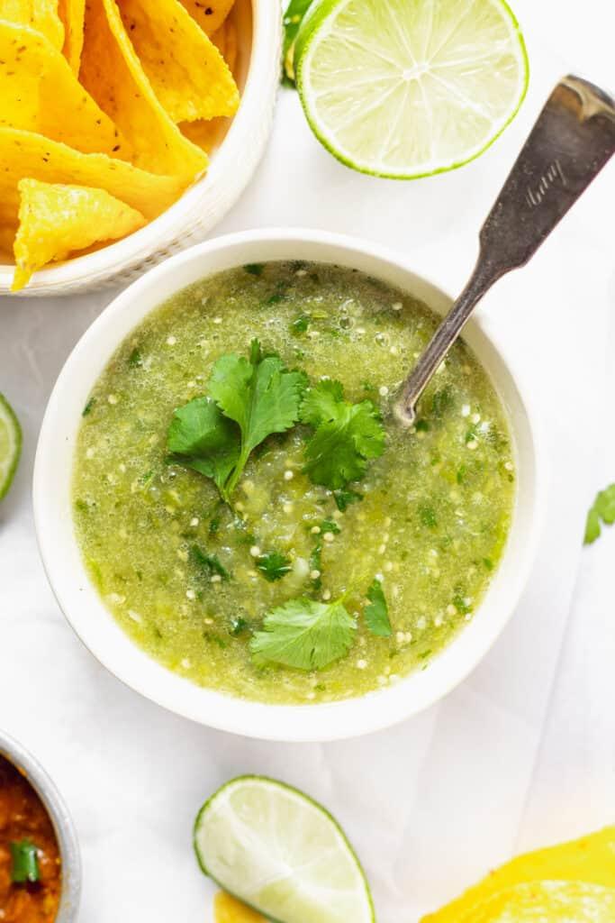 Salsa verde recipe in a bowl.