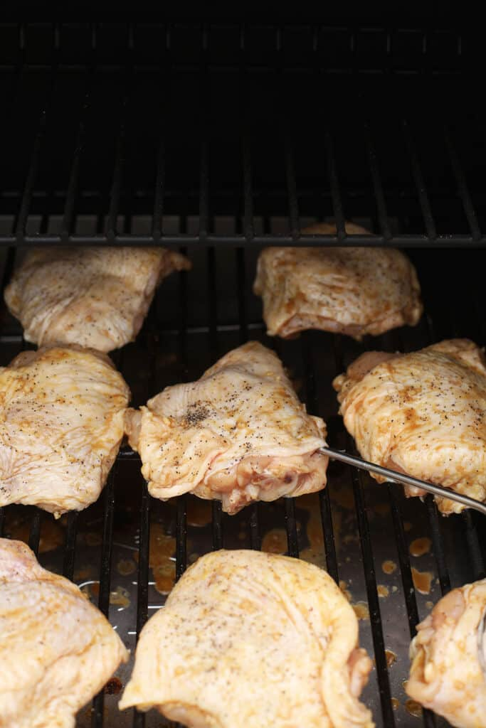 Chicken thighs on the smoker.