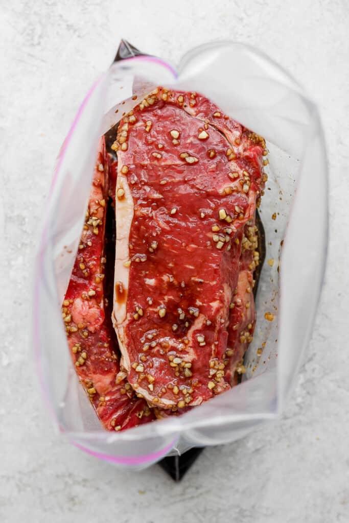 Steak Marinated in Plastic Bag