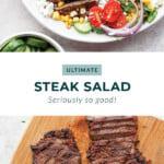 steak salad in bowl