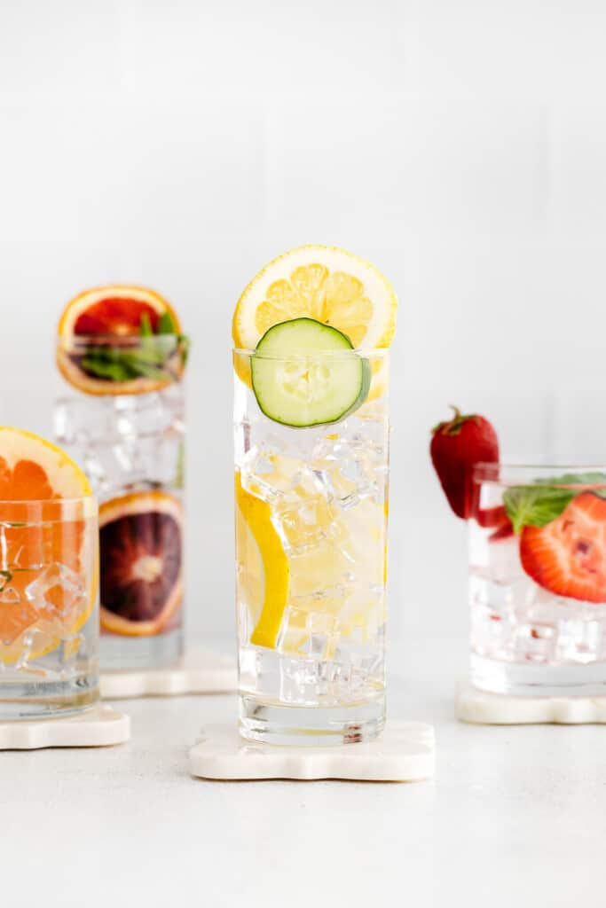 Fruit infused water in glasses
