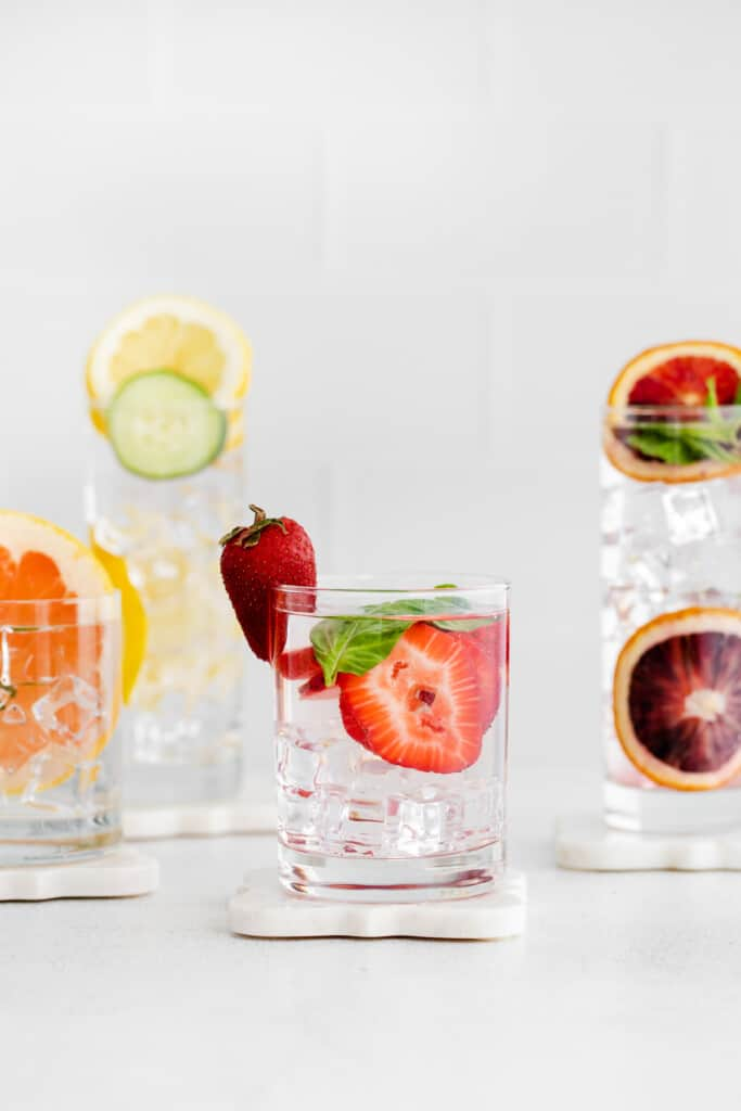 Fruit infused water in glasses.