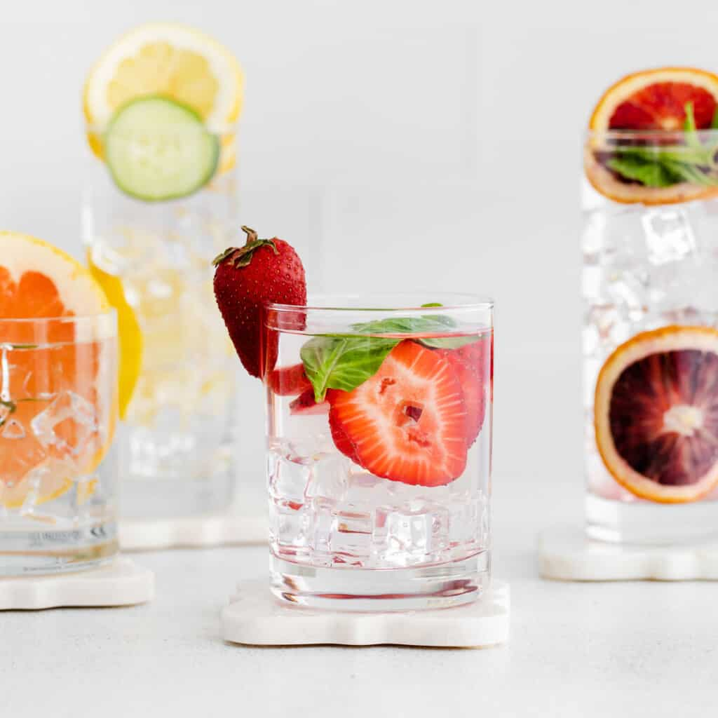 Fruit infused water in a glass.
