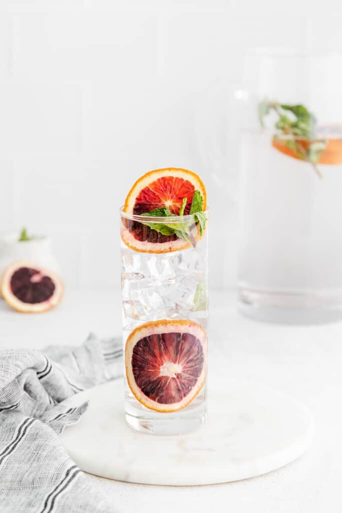 Blood orange and fresh mint infused water