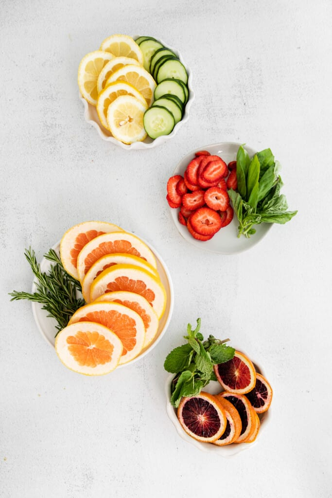 Fruit and herbs for fruit infused water