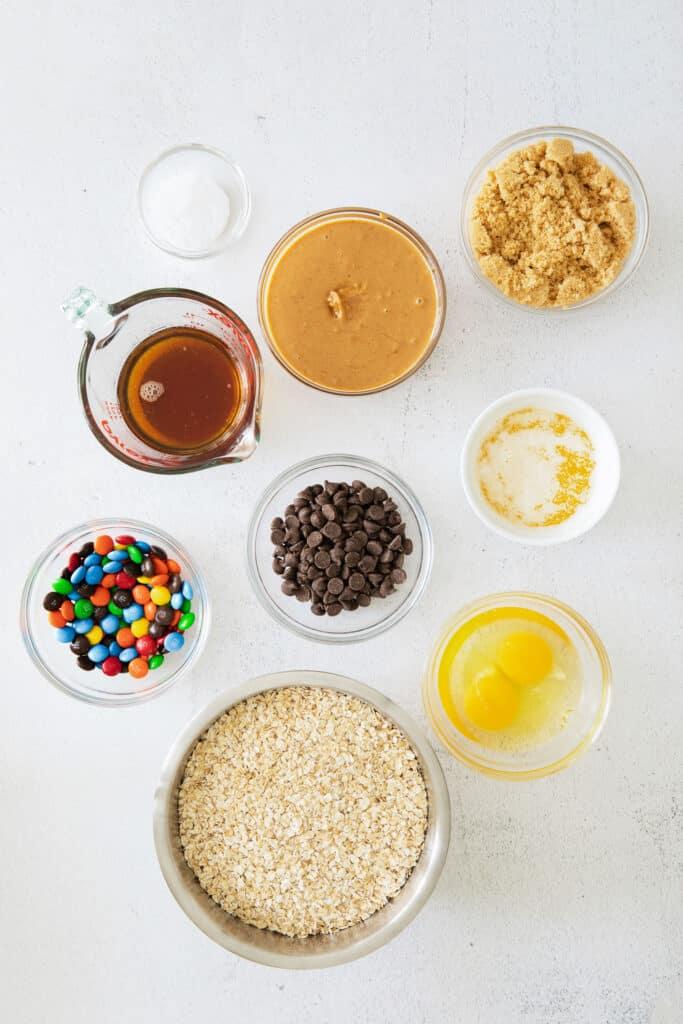 monster cookie bars ingredients on countertop
