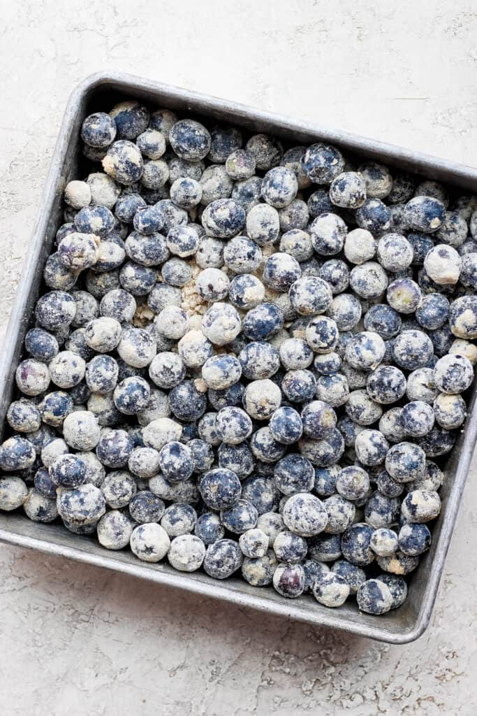 Blueberries tossed in flour.