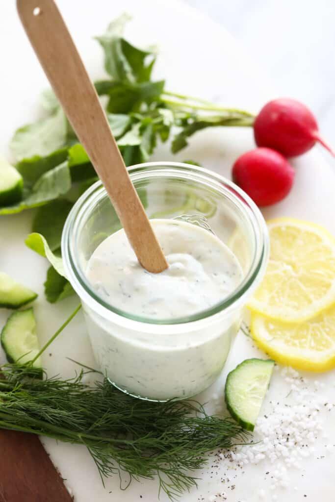 Greek yogurt dressing in jar