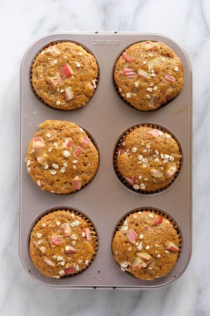 Rhubarb muffins in a muffin tin