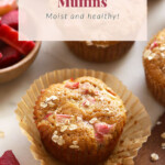 Rhubarb muffins on a muffin paper.