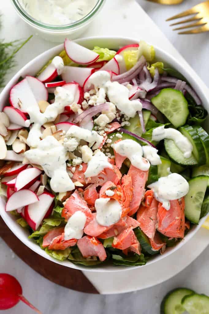 salmon salad with Greek yogurt dressing in bowl