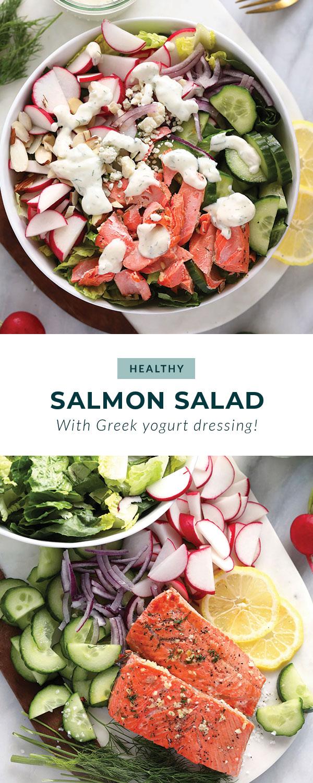salmon salad in bowl
