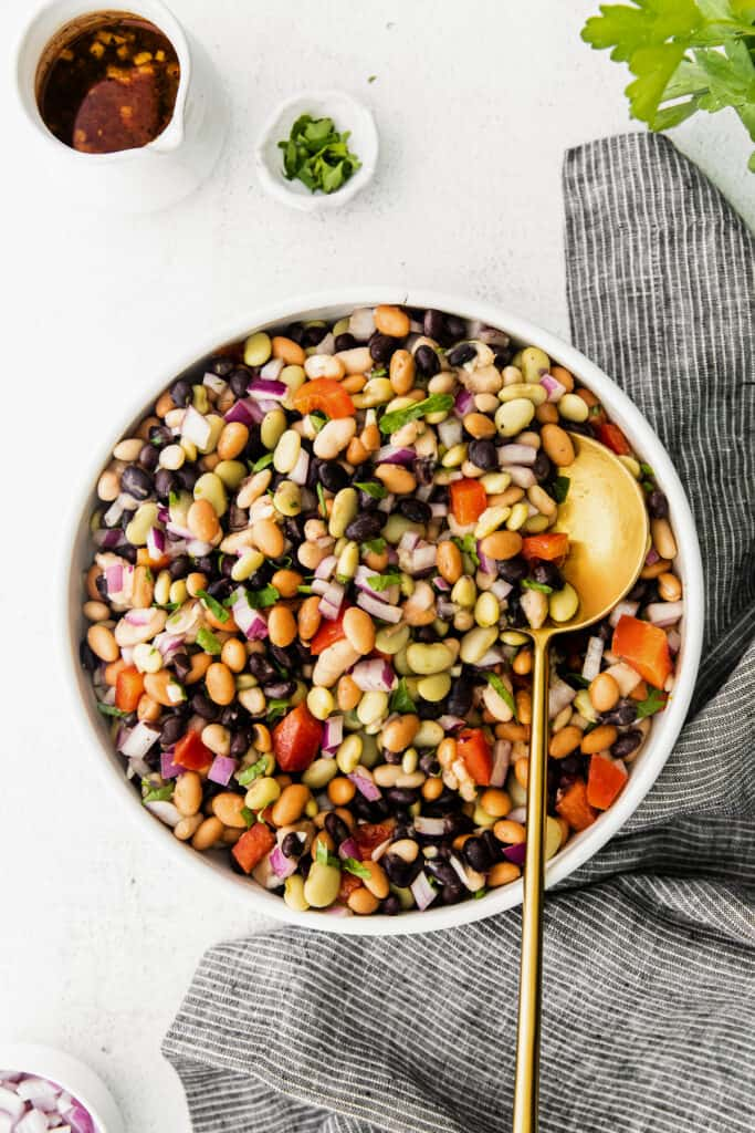 Bean salad in a bowl with dressing and fresh herbs on the side.