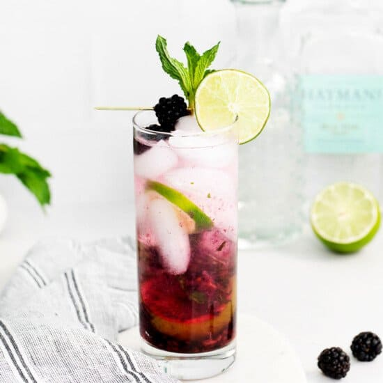 blackberry cocktail in glass