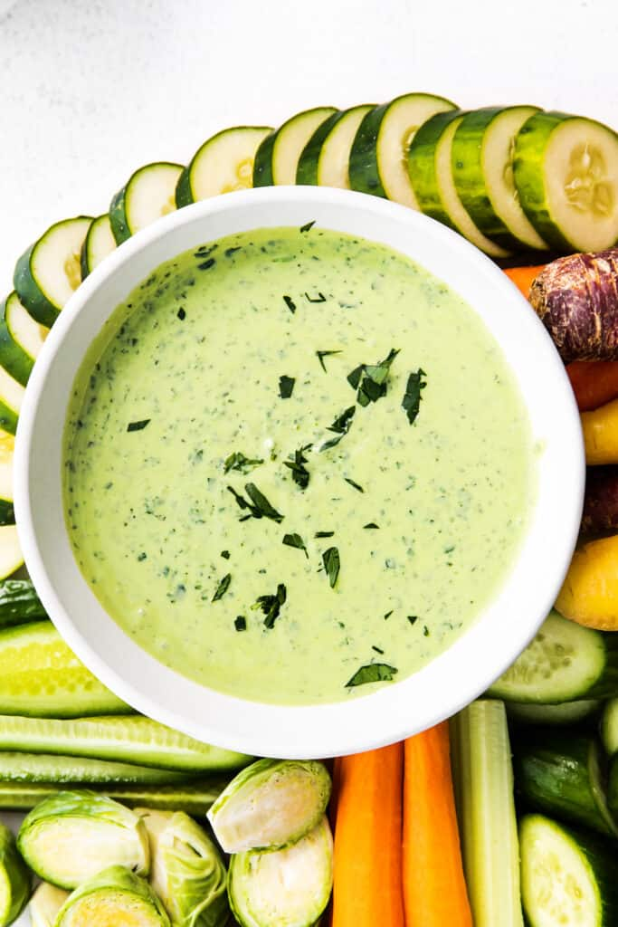 green goddess dressing in bowl