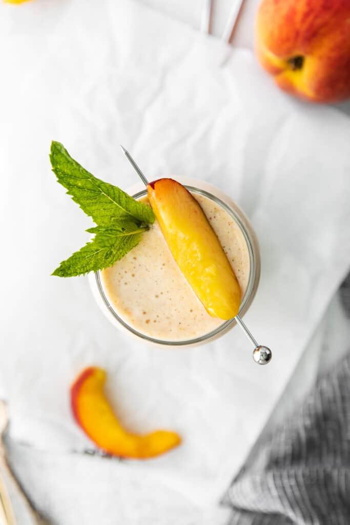 peach smoothie with fresh peach