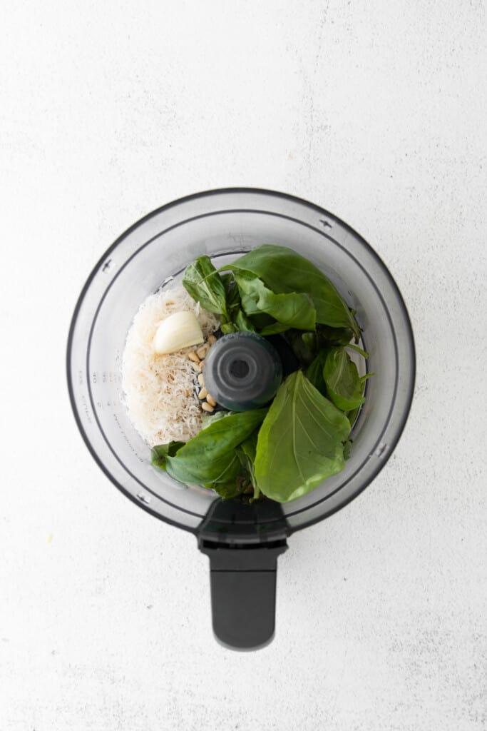 basil in food processor