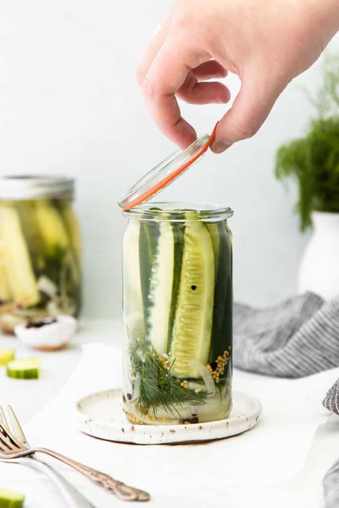 A jar full of refrigerator pickles.