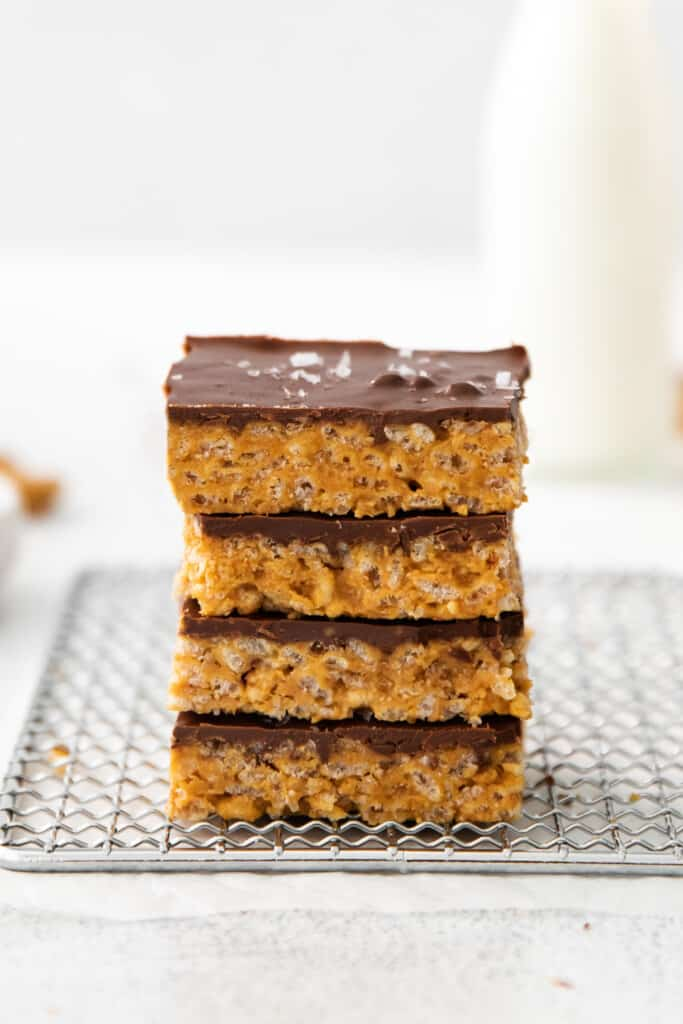 healthy scotcheroo bars stacked together