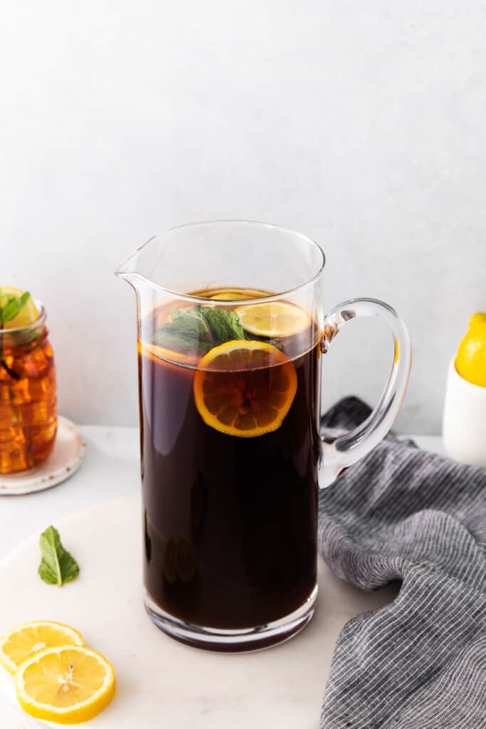 pitcher of homemade iced tea ready to be served