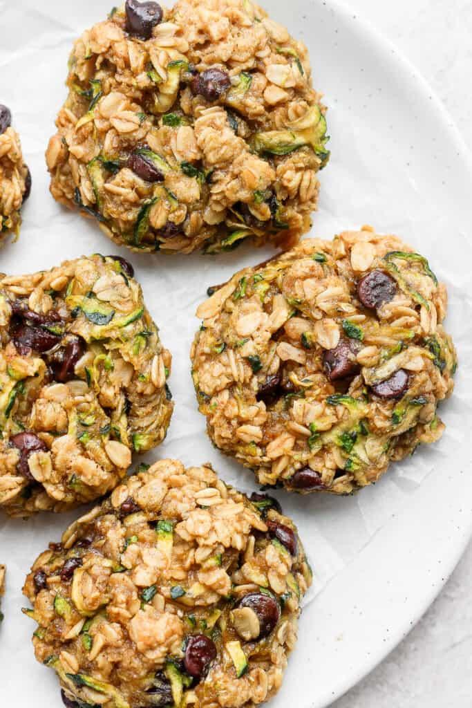 zucchini oatmeal cookies on plate