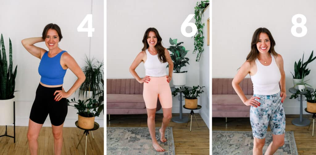 linley wearing lululemon align shorts in 3 different inseams