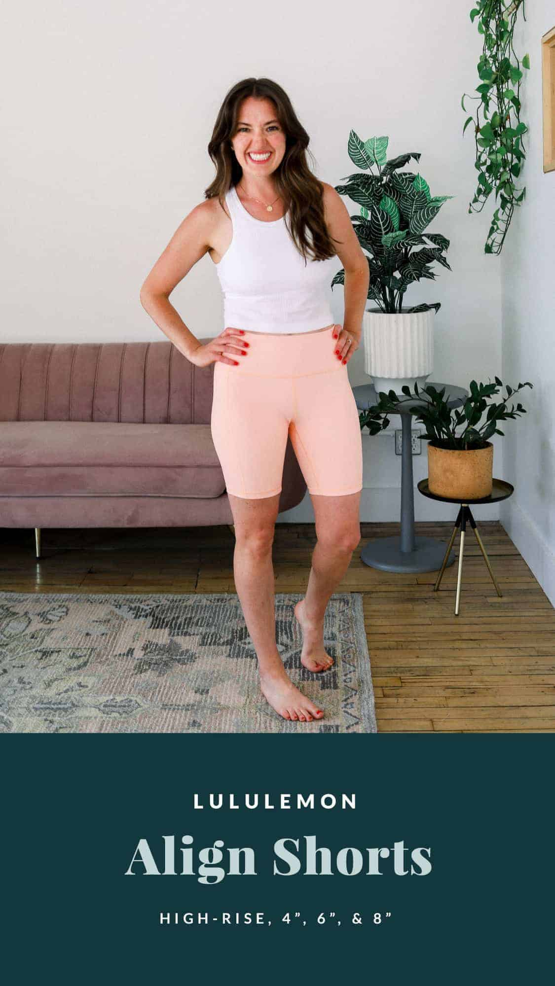 linley wearing lululemon align shorts in a peach color