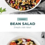 Bean salad in a bowl with other ingredients.