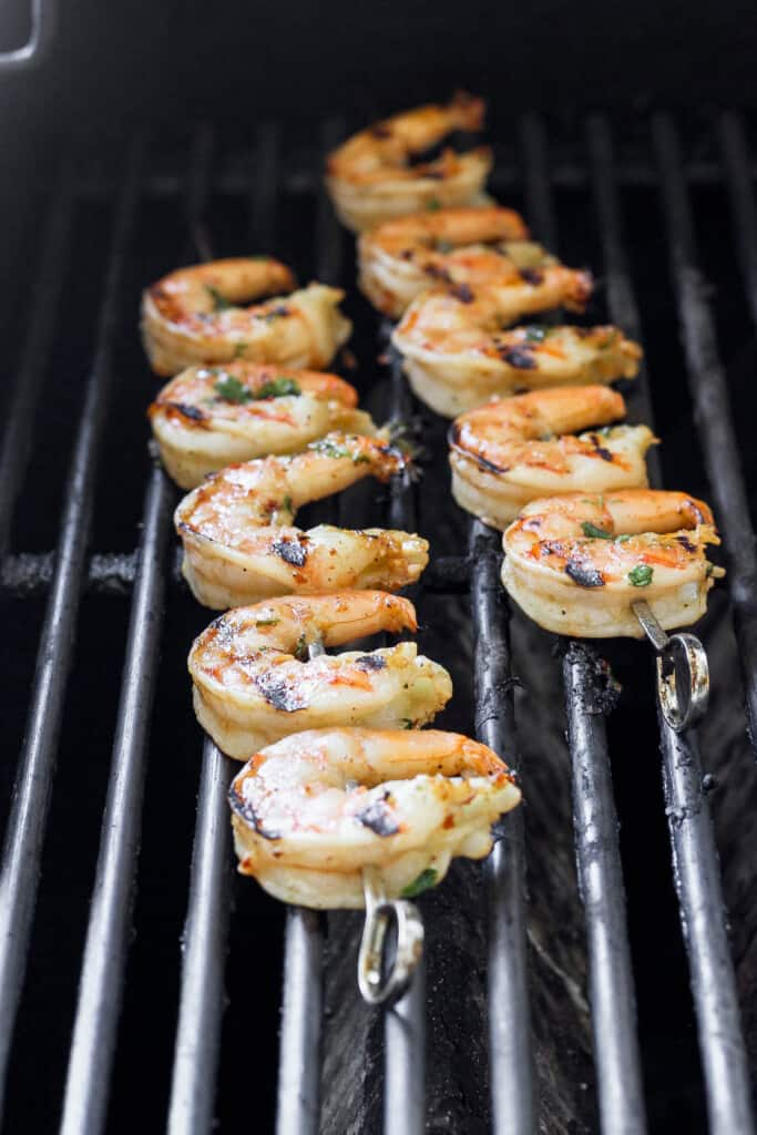 grilled shrimp on skewers on the grill