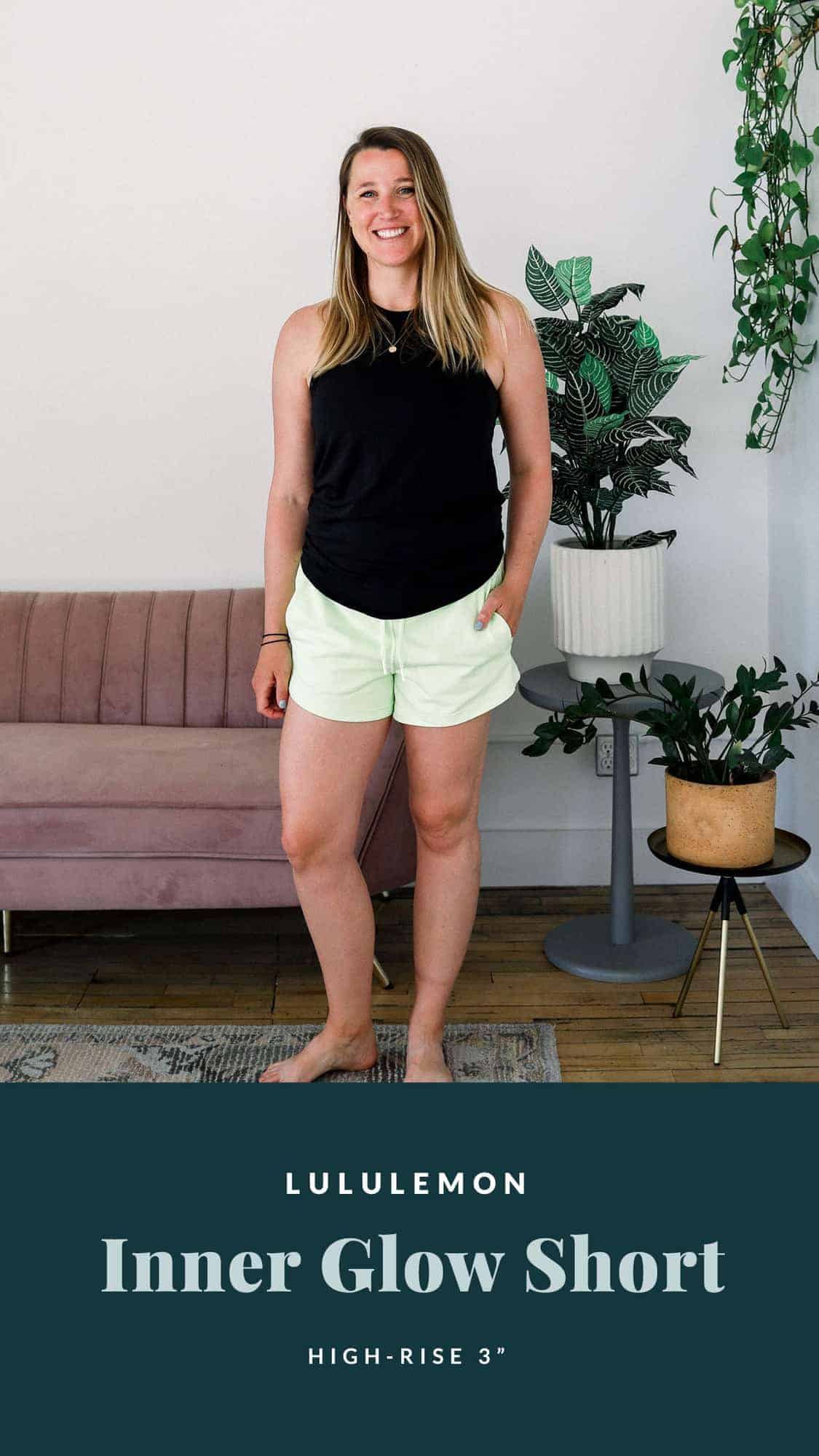emily wearing the inner glow shorts by lululemon