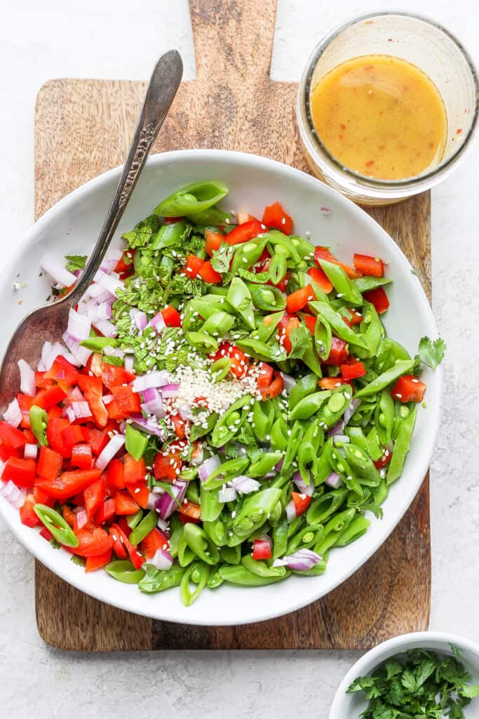 Ginger pea salad in a large bowl.