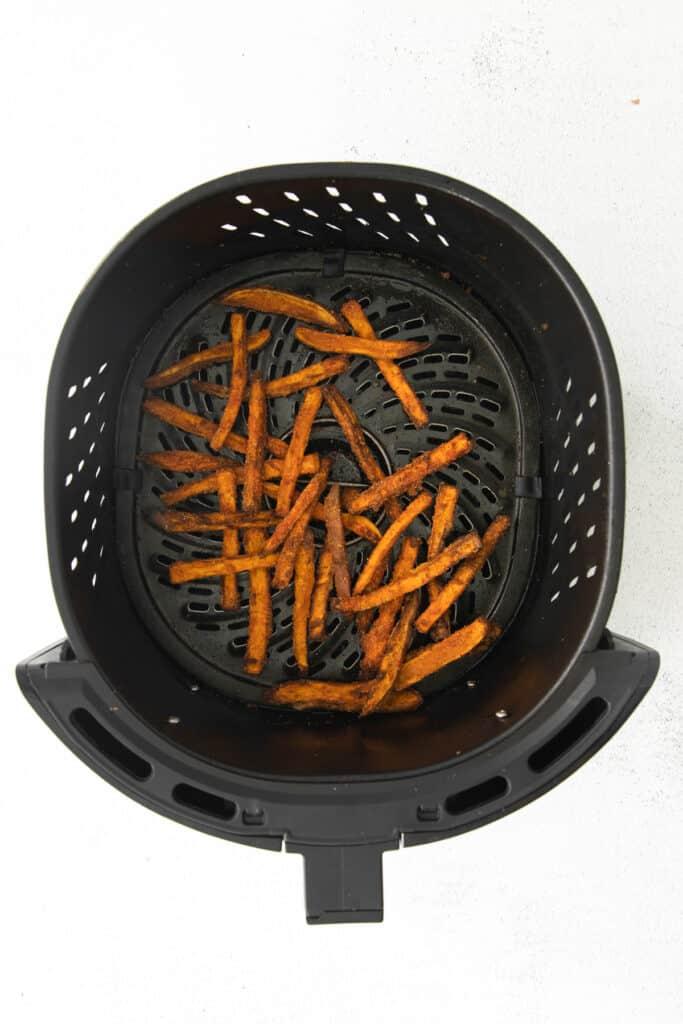 air fryer sweet potato fries after being air fried
