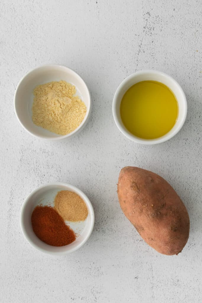 ingredients for air fryer sweet potato fries in bowls