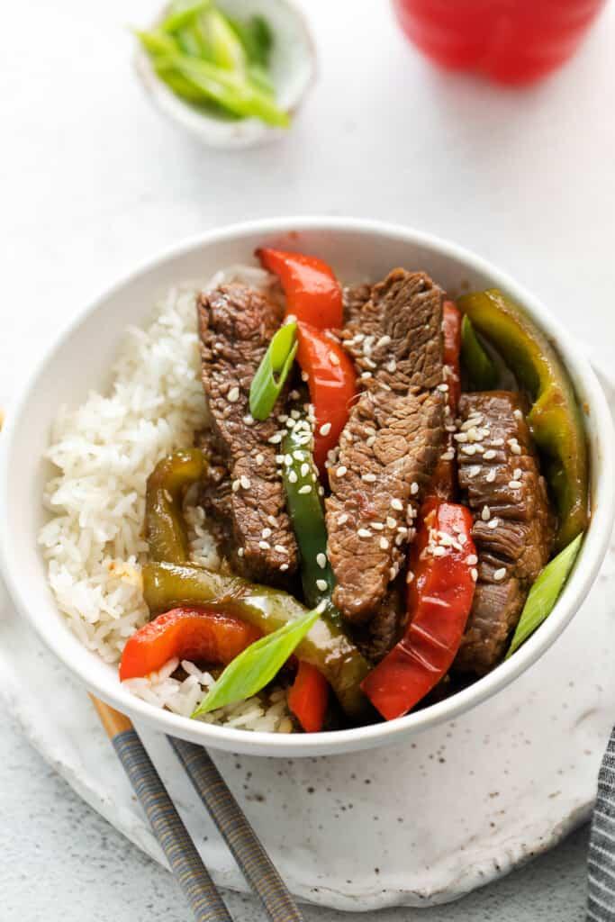 Pepper steak over rice