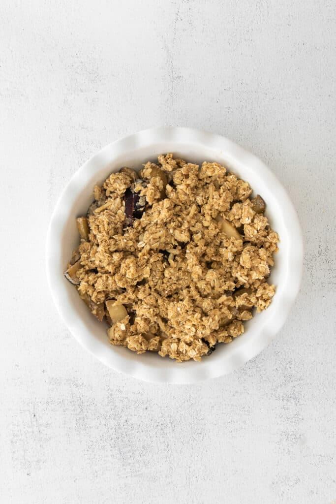 plum crisp in baking dish