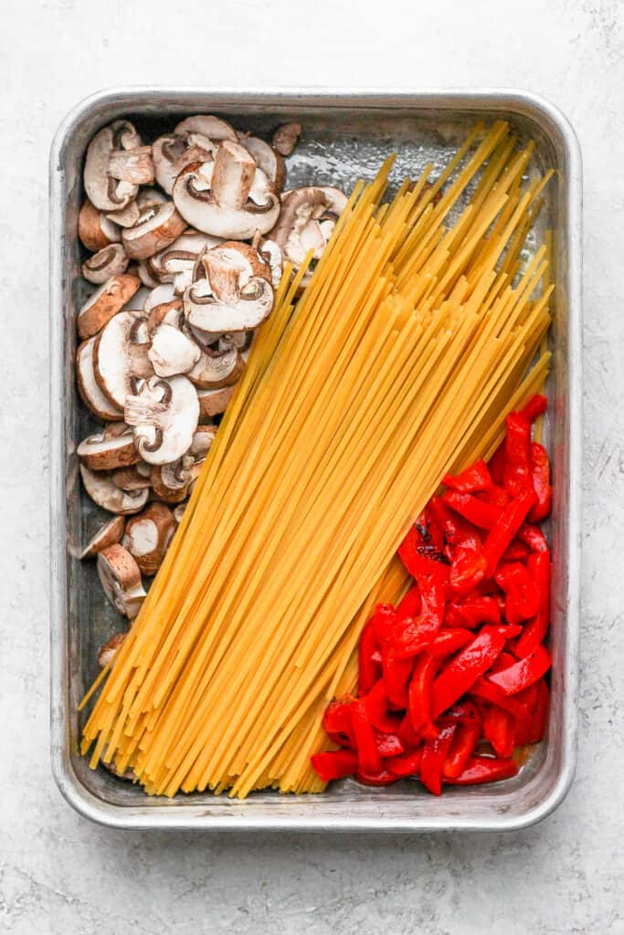 All the ingredients for one pot pasta in a casserole dish.
