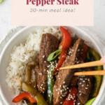Pepper steak in a bowl.