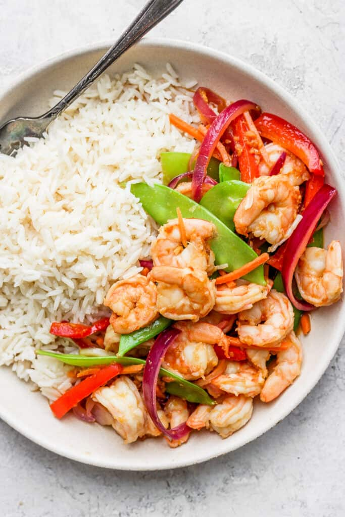 white rice and stir fry