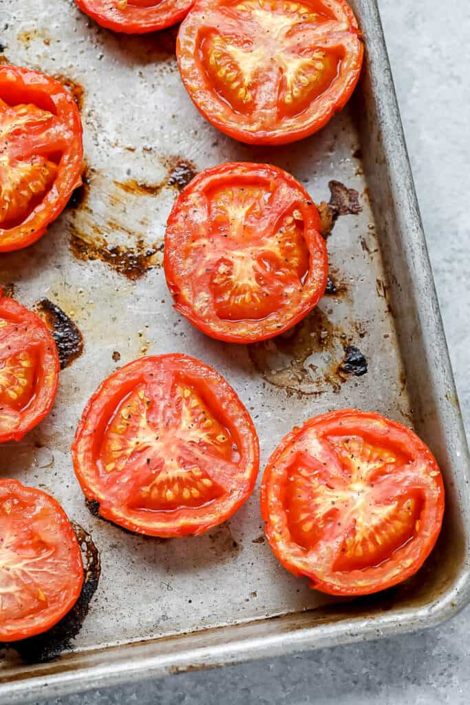 roasted tomatoes on pan