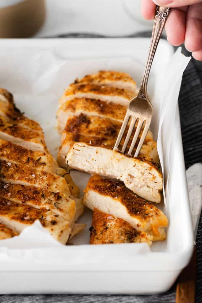 juicy air fryer chicken in dish