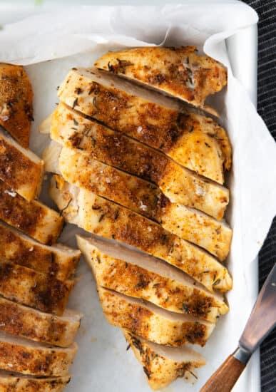 sliced chicken breast in dish