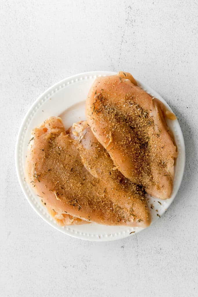 seasoned chicken breast on plate