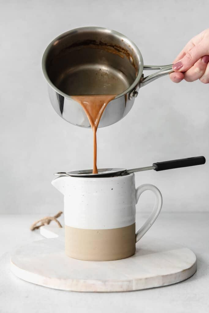 sieving chai tea
