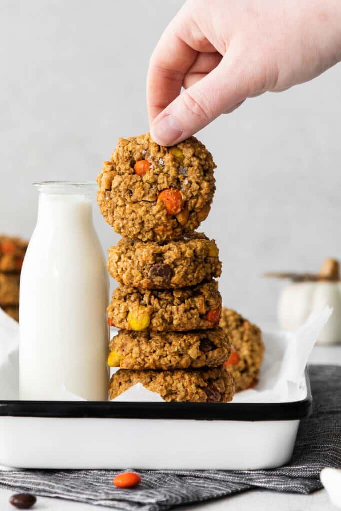 stack of pumpkin monster cookies