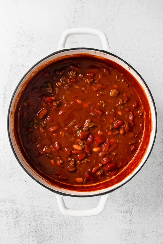 chili in stock pot