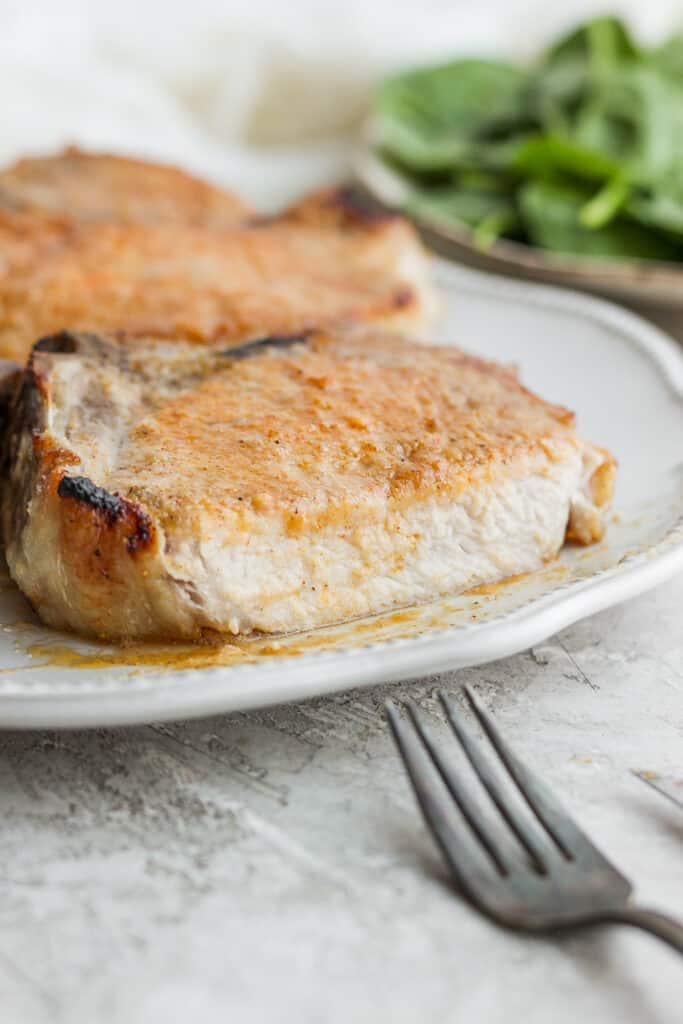 sliced pork chop on plate