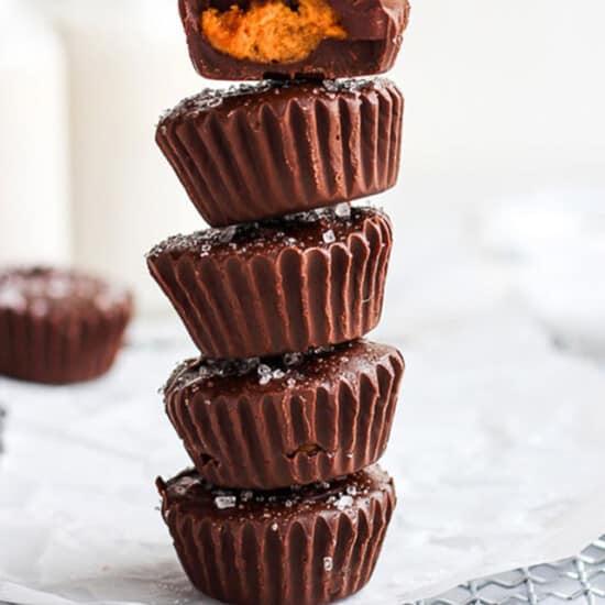pumpkin peanut butter cups on cooling rack