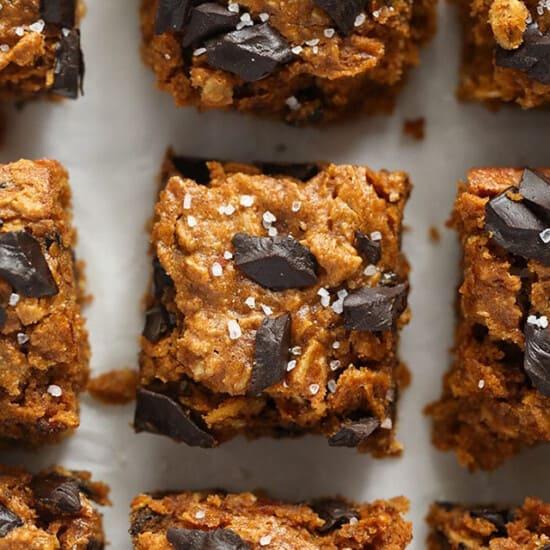 pumpkin oatmeal cookie bars on baking sheet
