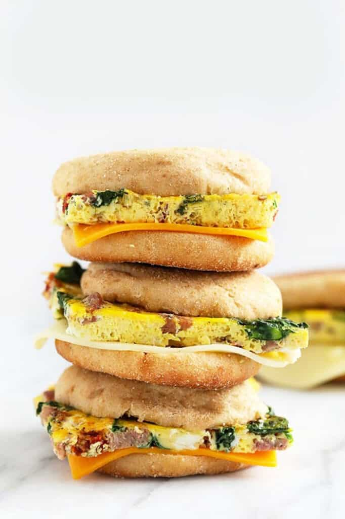 freezer breakfast sandwiches stacked three high
