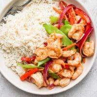 shrimp stir fry in bowl